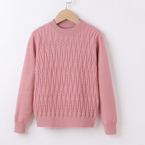 Girls Solid Cable Knit Sweater, Dusty pink