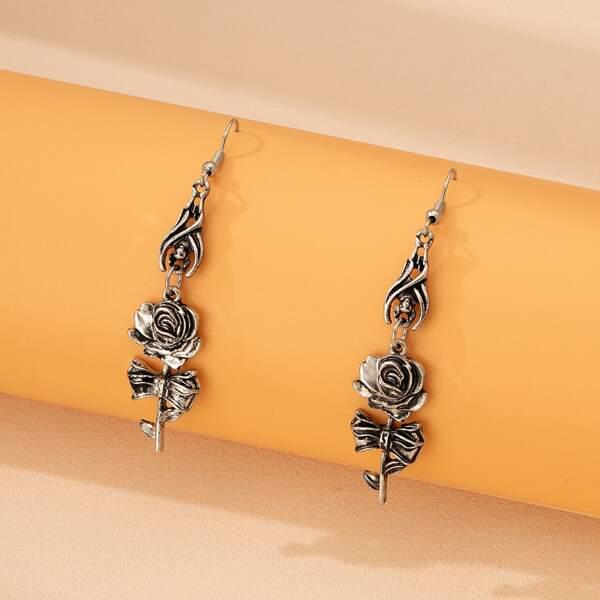 Flower Charm Drop Earrings, Antique silver
