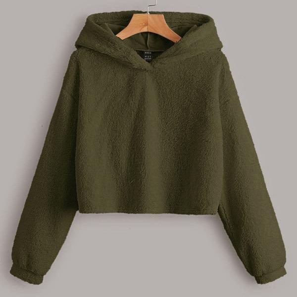 Solid Drop Shoulder Teddy Hoodie, Army green