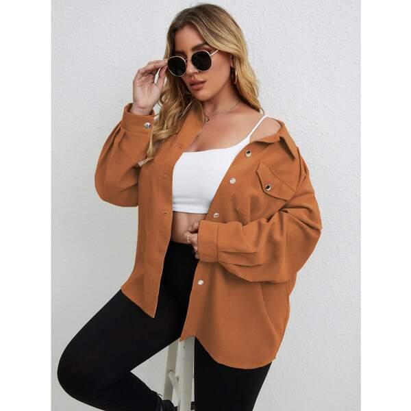Plus Drop Shoulder Flap Pocket Corduroy Jacket, Brown
