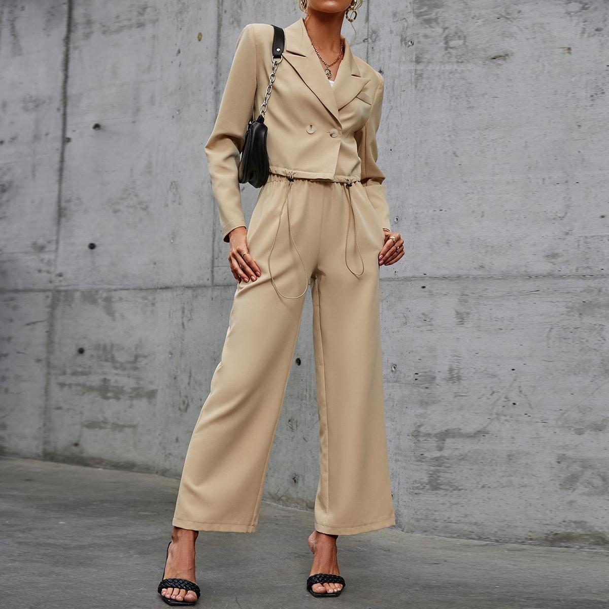 Double Button Drawstring Hem Blazer & Wide Leg Pants