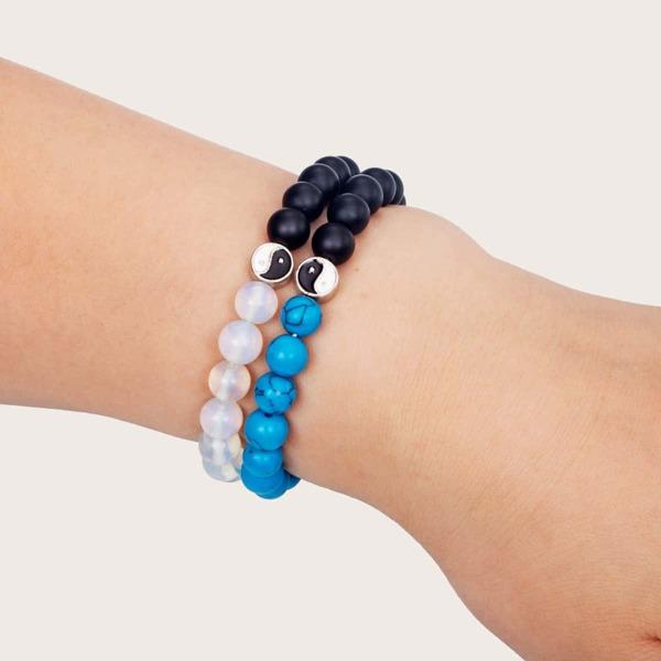2pcs Yin & Yang Decor Beaded Bracelet, Multicolor