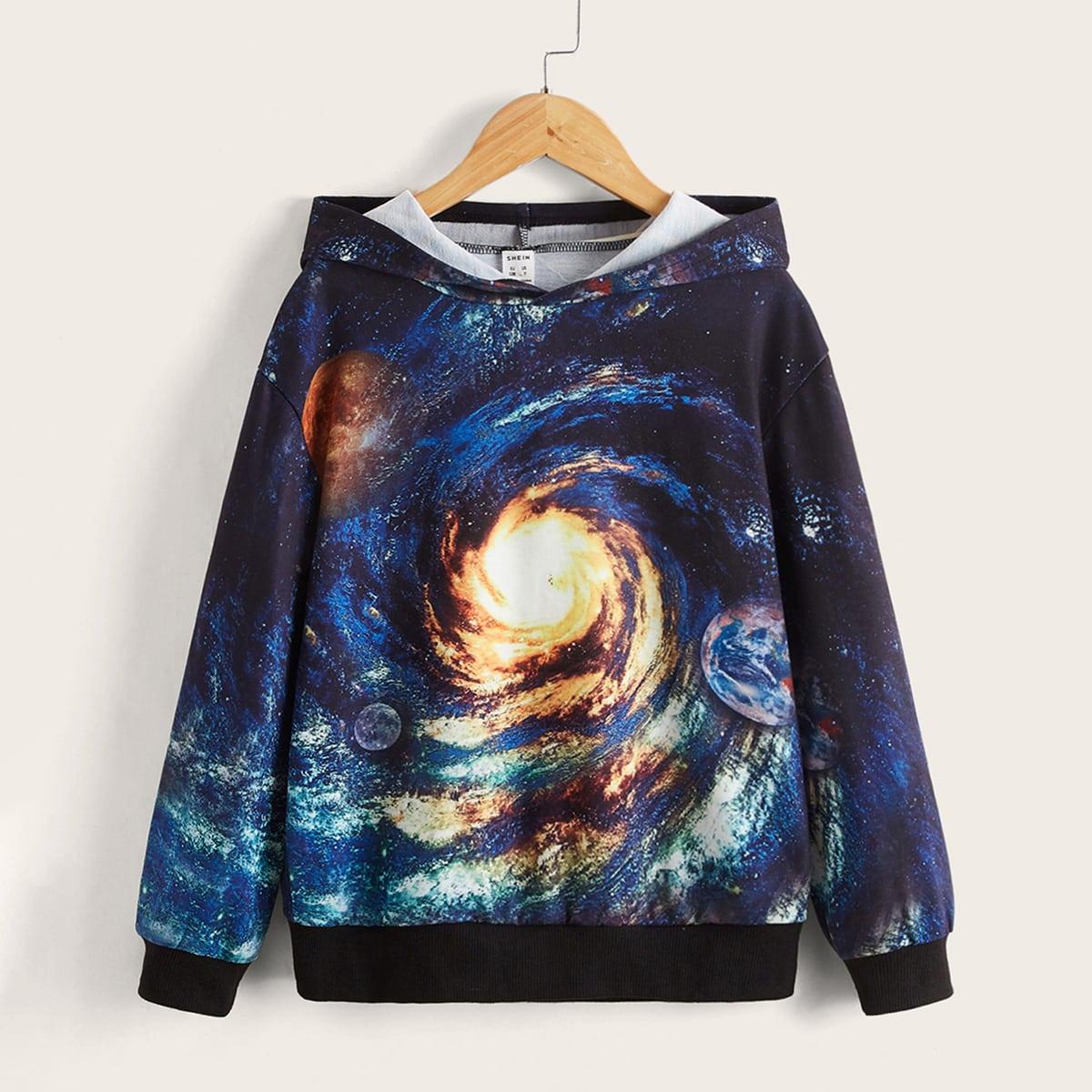 Garçon Sweat-shirt à capuche à imprimé galaxie 3D