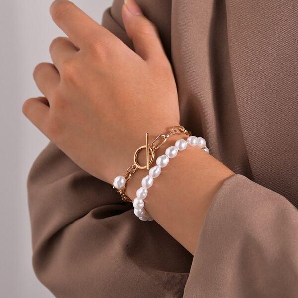 2pcs Faux Pearl Beaded Bracelet, Multicolor