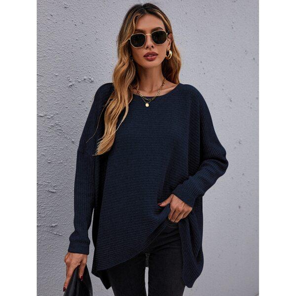 Drop Shoulder High Low Hem Sweater, Navy blue