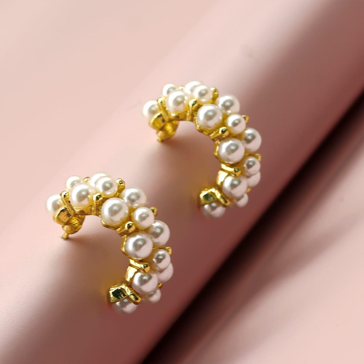 Créoles ouvertes fausse perle