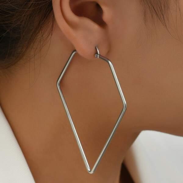 1pair Stainless Steel Earrings, Silver