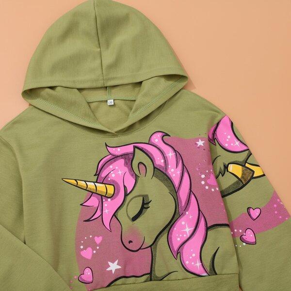 Girls Unicorn Print Hoodie & Letter Graphic Sweatpants, Green