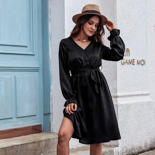 Surplice Neck Flounce Sleeve Belted Dress, Black