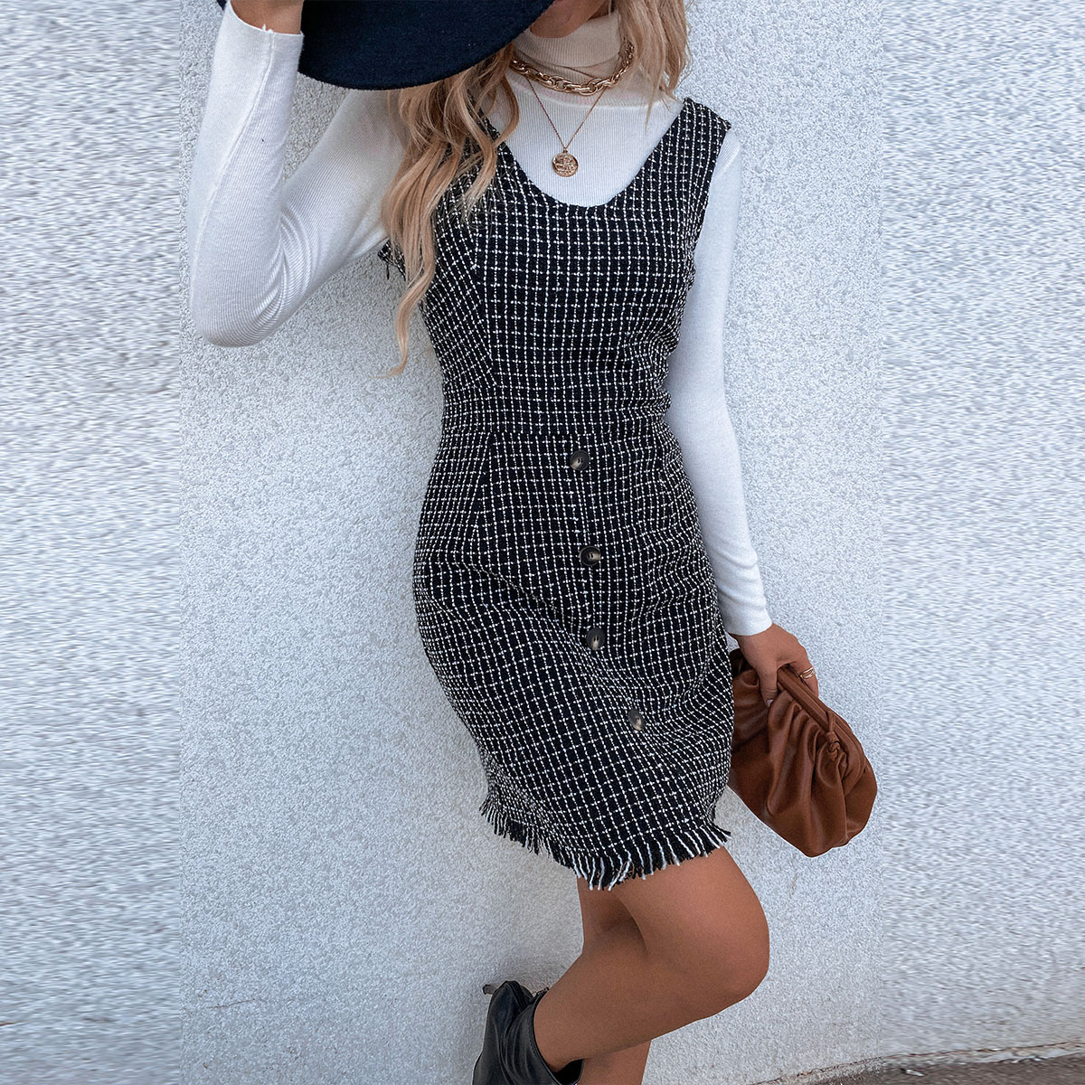 Plaid Button Front Tweed Pinafore Dress Without Sweater