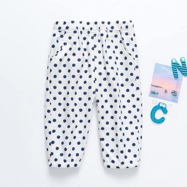 Toddler Girls Polka Dot Slant Pocket Pants, Blue and white
