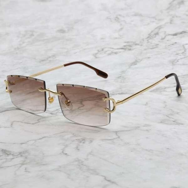Men Ombre Lens Square Frame Sunglasses