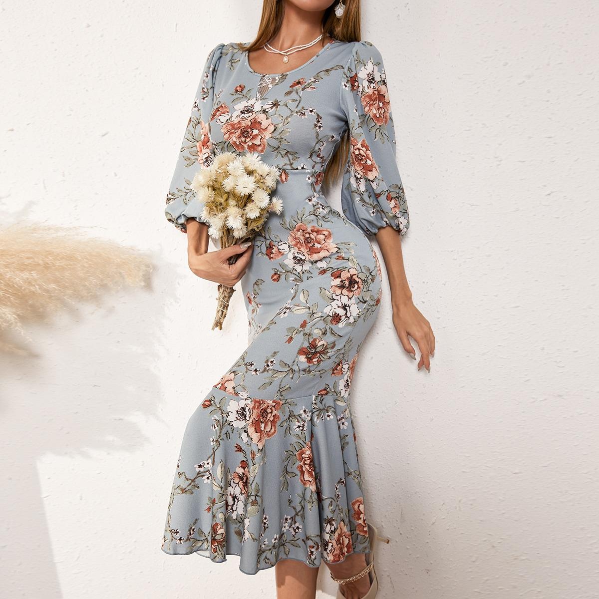 Платье с цветочным принтом с рукавами-фонариками с подолом русалки