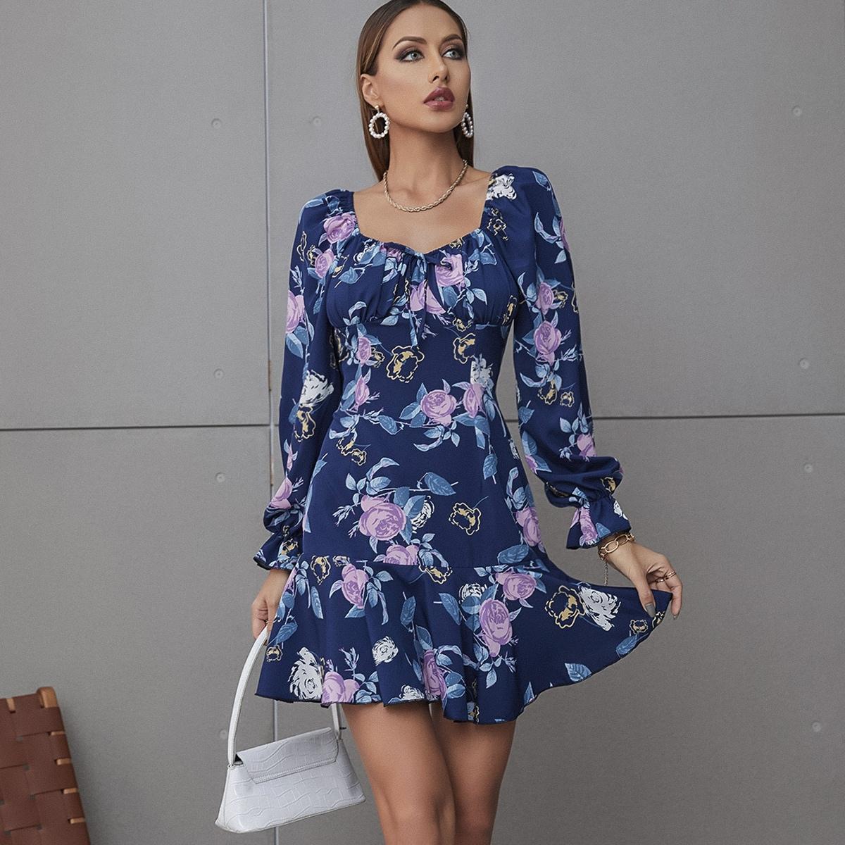 Floral Print Flounce Sleeve Sweetheart Neck Tie Front Ruffle Hem Dress