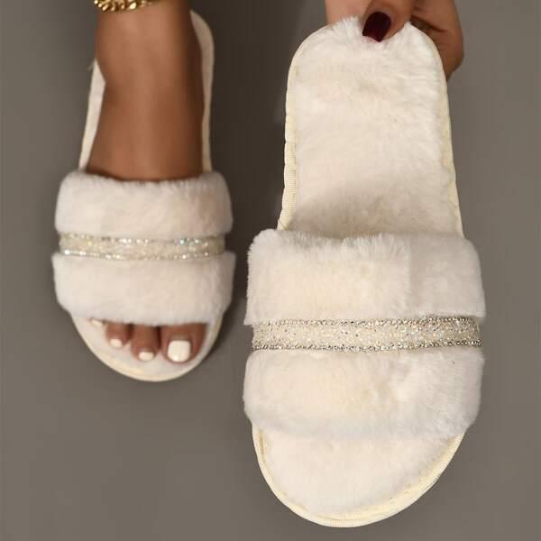 Rhinestone Decor Fuzzy Slippers, Beige