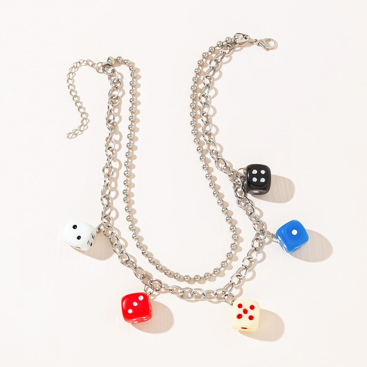 Dice Charm Layered Necklace