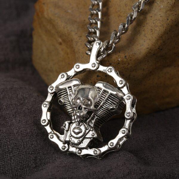 Men Skull Detail Necklace, Antique silver