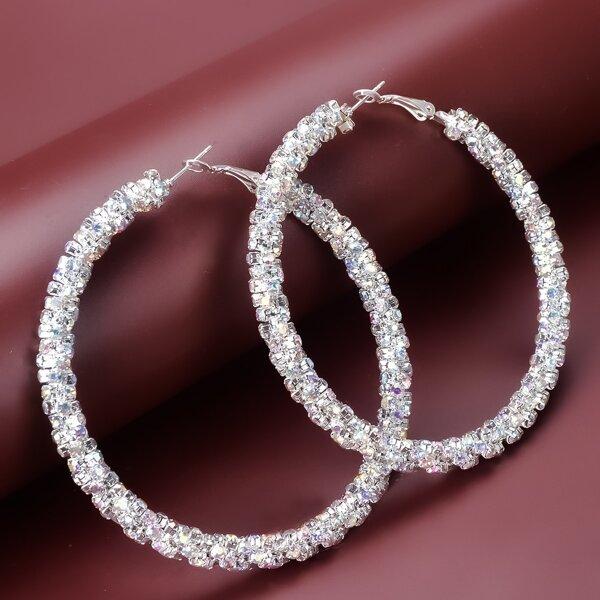Rhinestone Decor Hoop Earrings, Silver