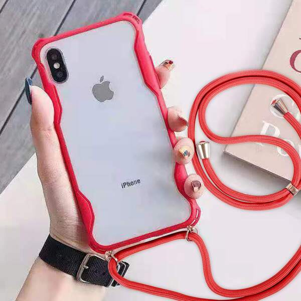Clear Pattern Phone Case With Lanyard, Red