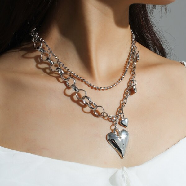 Heart Charm Layered Necklace, Silver