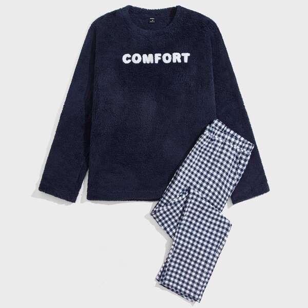 Men Letter Graphic Flannel Top & Gingham Print Pants PJ Set, Blue