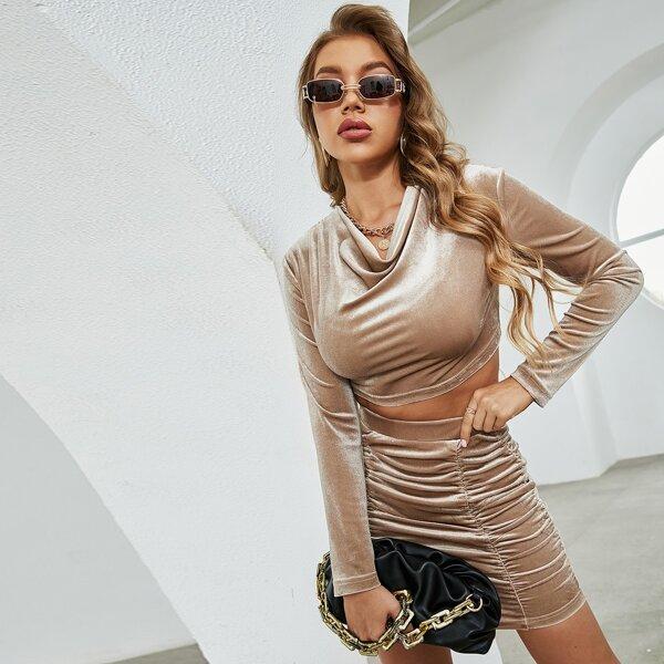 Solid Cowl Neck Crop Velvet Top & Ruched Skirt, Khaki