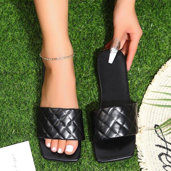 Minimalist Quilted Slide Sandals, Black