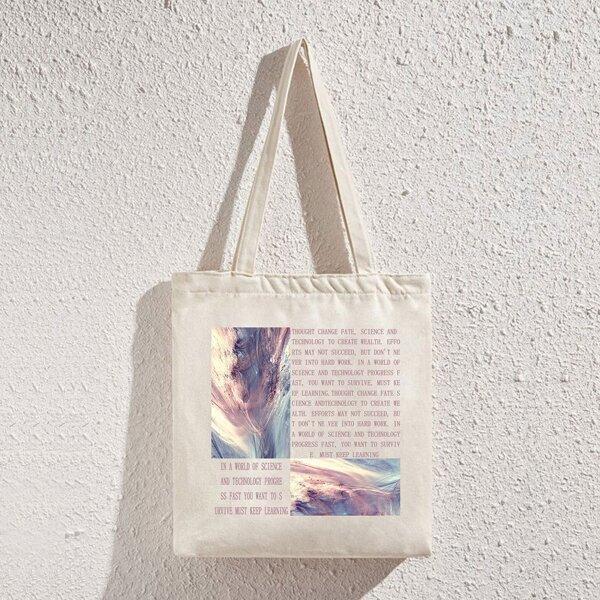 Newspaper Graphic Shopper Bag, Beige