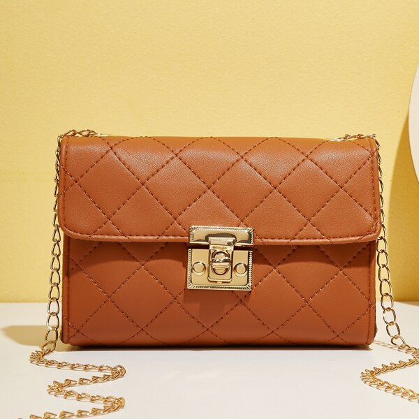 Quilted Twist Lock Chain Square Bag, Brown
