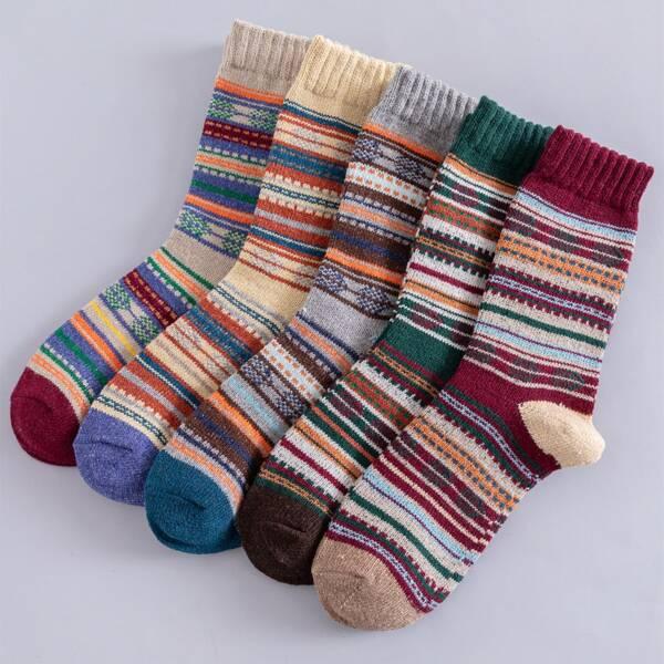5pairs Men Striped Print Crew Socks, Multicolor