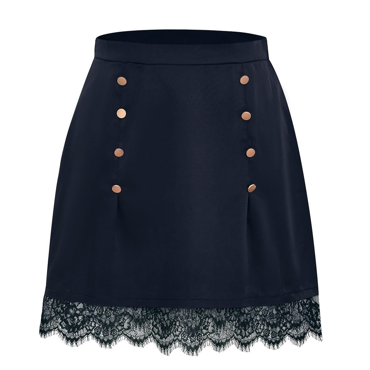 Plus Eyelash Lace Hem Fake Button Skirt