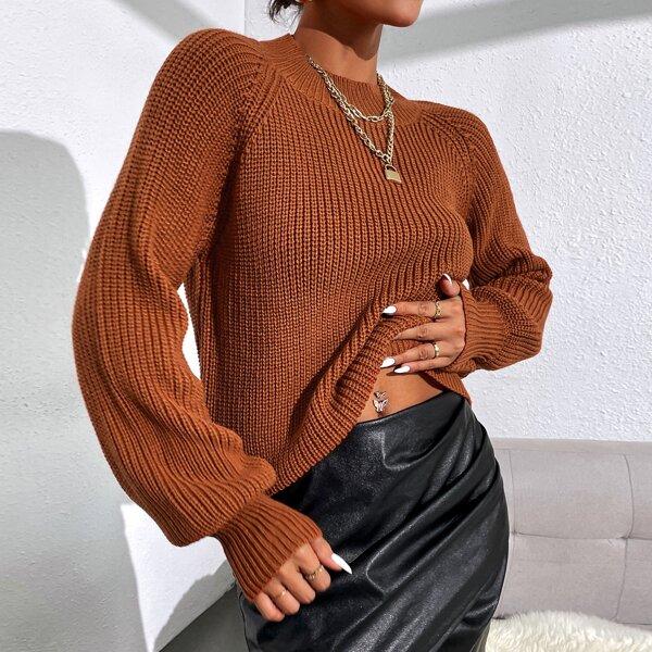 Solid Ribbed Knit Raglan Sleeve Mock Neck Sweater, Rust brown