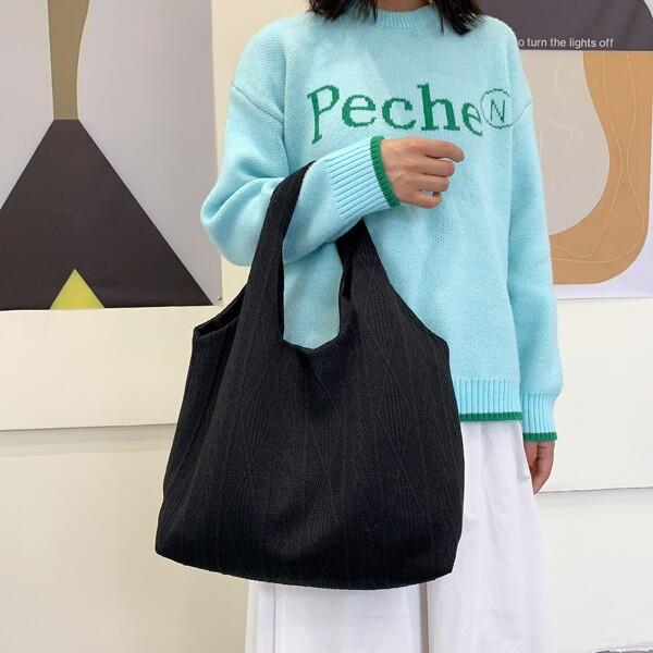 Minimalist Knitting Design Shopper Bag, Black