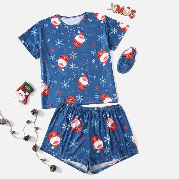 Plus Christmas Print PJ Set With Eye Cover, Blue