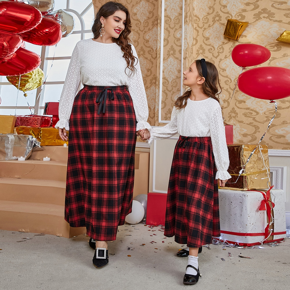 Plus 1pc Flounce Sleeve Lace Top & 1pc High Waist Plaid Knot Front Skirt