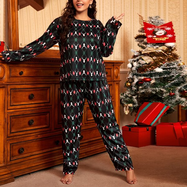 Plus Christmas Deer And Argyle Print Pajama Set With Eye Cover, Multicolor