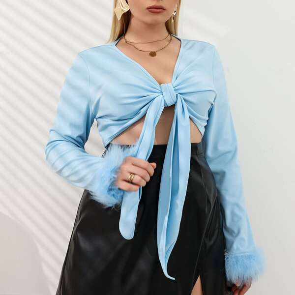 Plus Tie Front Contrast Cuff Top, Baby blue