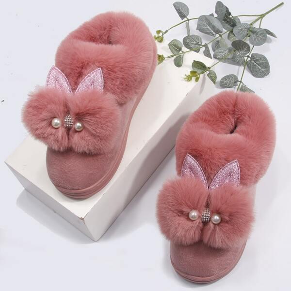 Pom-pom Decor Fuzzy Slippers, Dusty pink