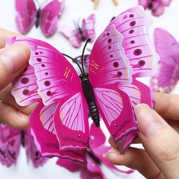 12pcs Butterfly Shaped Sticker, Multicolor