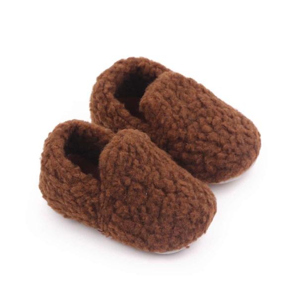 Baby Minimalist Fuzzy Slip On Shoes, Coffee brown