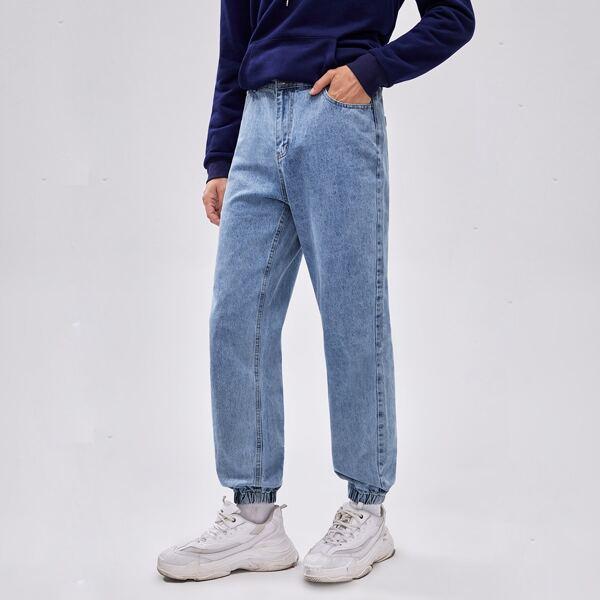 Men Light Wash Jogger Jeans