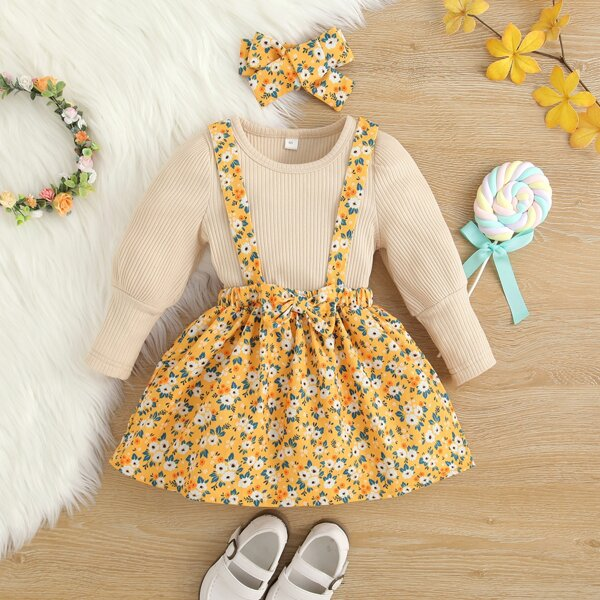 Baby Ribbed Knit Bodysuit & Floral Print Bow Front Pinafore Skirt With Headband, Multicolor