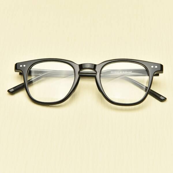Men Geometric Frame Eyeglasses, Black