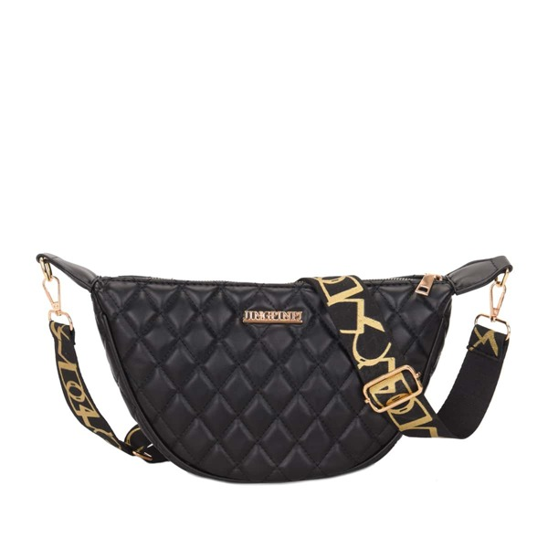 Metal Decor Quilted Pattern Fanny Pack, Black