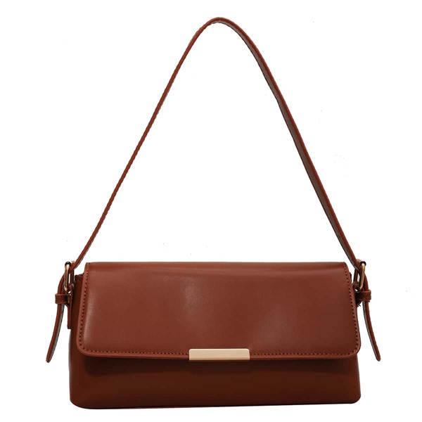 Minimalist Flap Baguette Bag, Brown