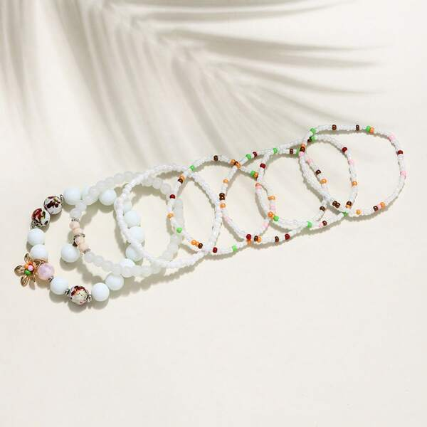 7pcs Flower Decor Beaded Bracelet, Multicolor