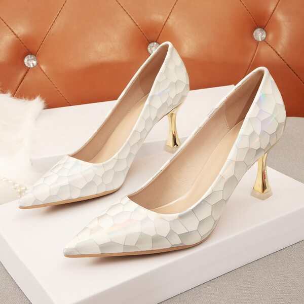 Marble Print Point Toe Court Pumps, White