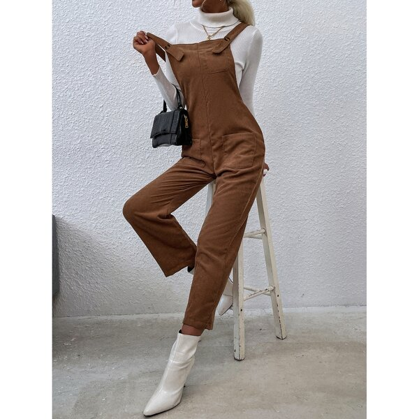 Corduroy Dual Pocket Overall Jumpsuit, Brown
