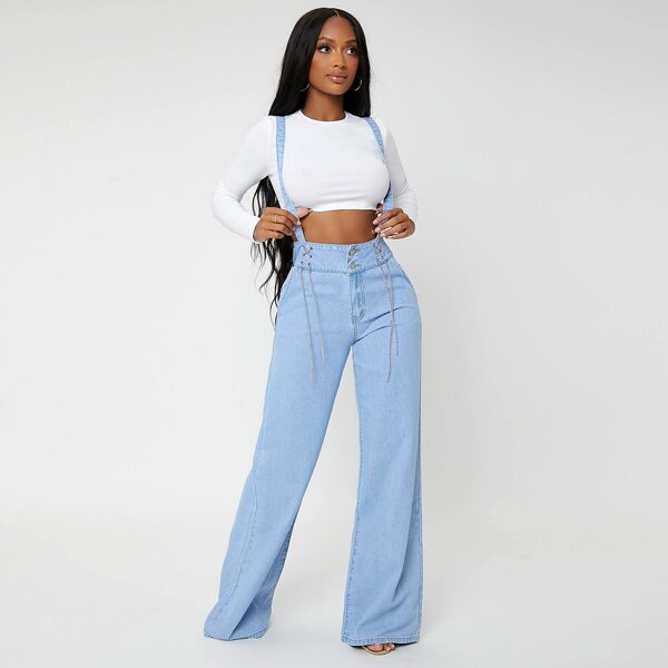Wide Leg Chain Detail Jeans With Straps, Light wash