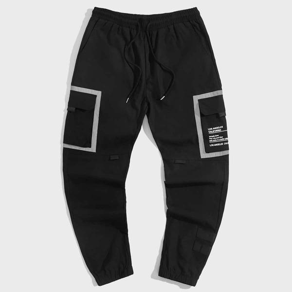 Men Slogan Graphic Flap Pocket Side Drawstring Waist Joggers, Black